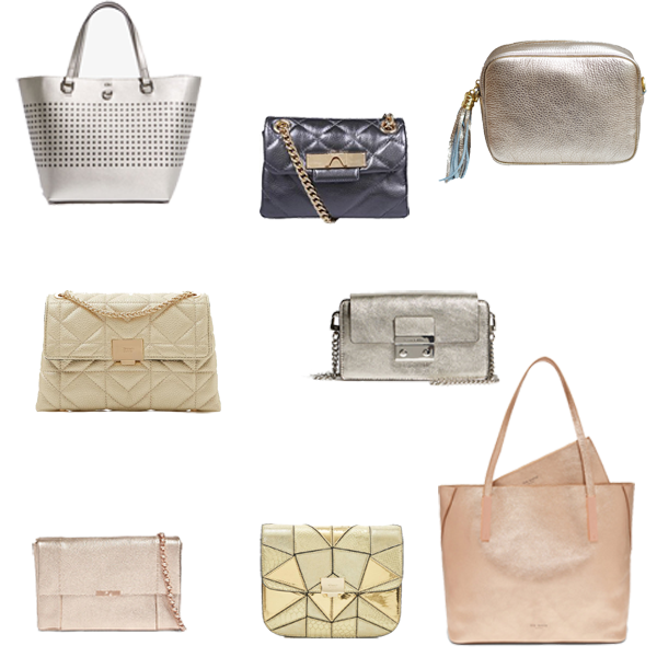 Best bags to pack for a holiday, metallic shoulder bags, metallic tote bags