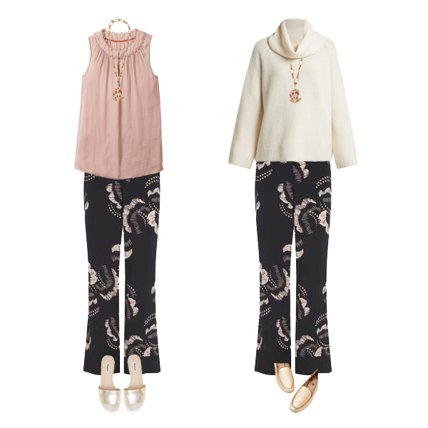 4 Key Autumn Wardrobe Pieces - print trousers with summer top and slides, later with cream chunky knit, gold loafers