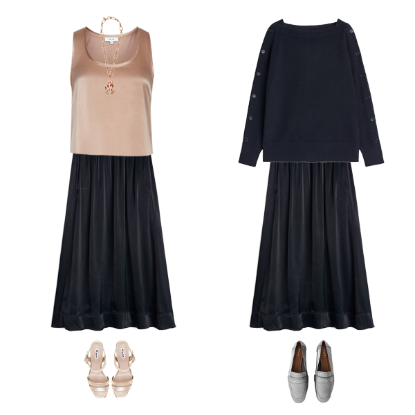 4 Key Autumn Wardrobe Pieces, navy satin skirt with satin top gold sandals, wear later chunky navy knit, silver loafers