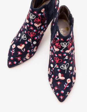 Boden mid season sale, floral embroidered navy ankle boots