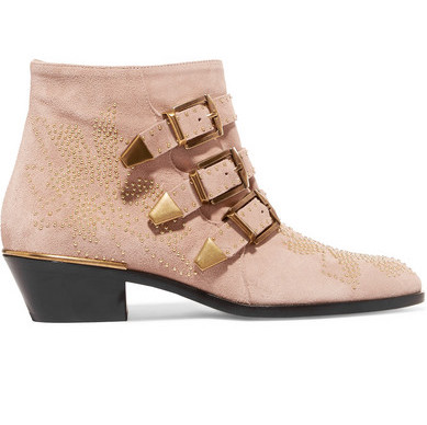 Transitional ankle boots, Chloe Suzanna studed boots pink suede