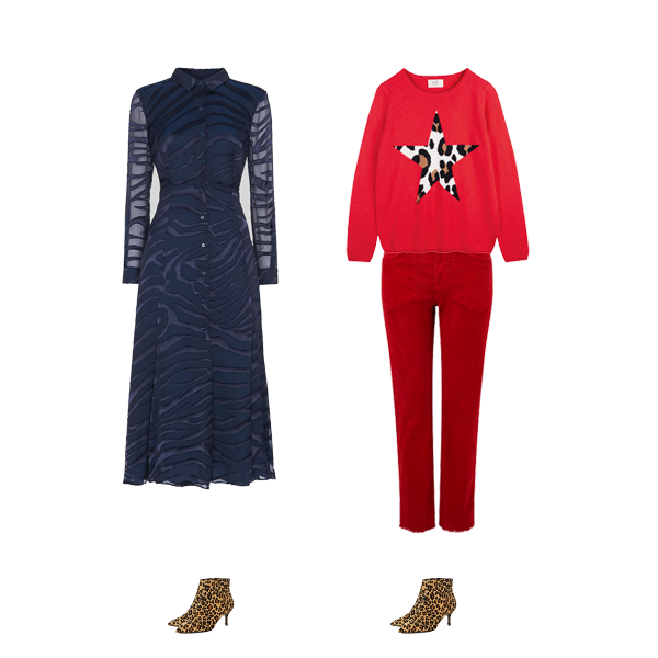 Autumn wardrobe staples, animal print kitten heel boots, midi dress, red jeans , star  red jumper