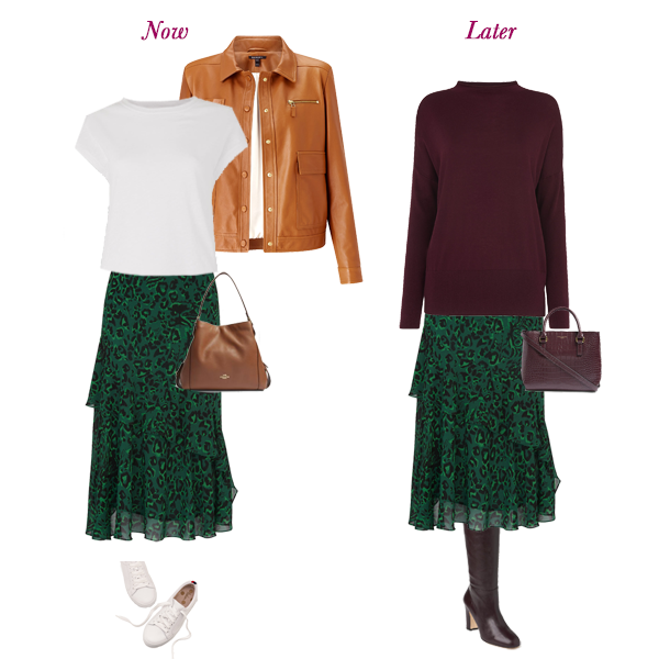 autumn capsule wardrobe additions, green frill animal print skirt casual with trainers , tan leather jacket, smart with burgundy knit jumper and boots