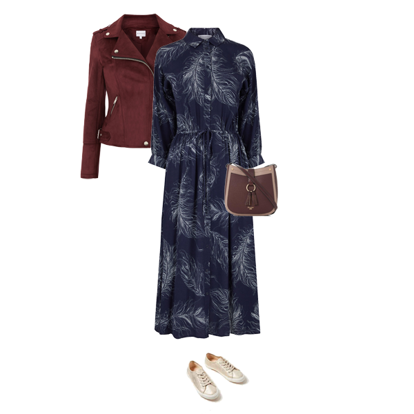 autumn transitional outfits, midi dress, biker jacket, trainers