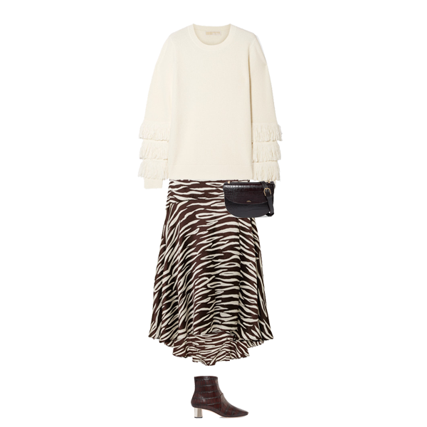 Autumn Transitional Outfits , Ganni asymmetric zebra skirt, cream jumper, brown ankle boots