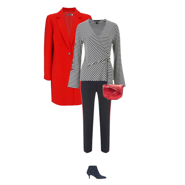 Autumn Transitional Outfits, red coat, stripe wrap top, side stripe trousers, kitten heel boots, red bag