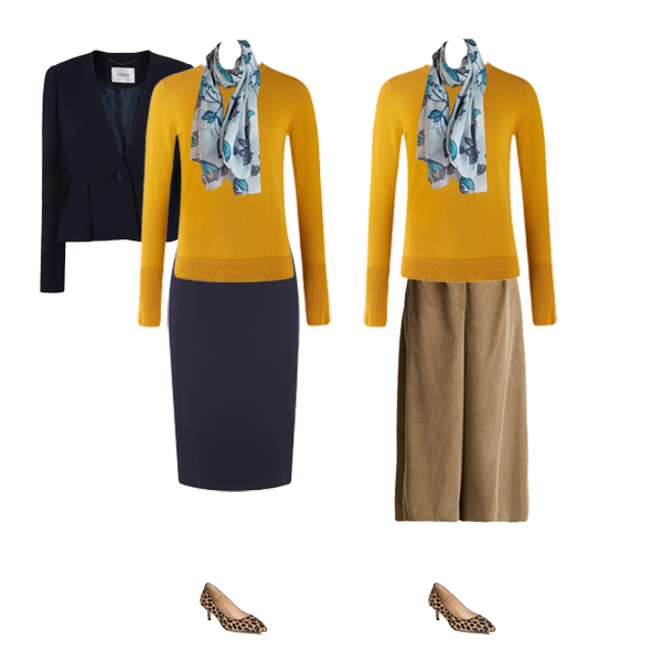 Autumn wardrobe staples, mustard ME+EM sweater, navy suit, Cord wide leg trousers, animal print shoes