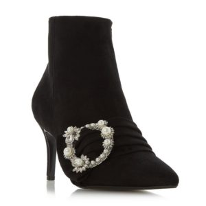 transitional ankle boots, black suede pearl detail buckle ankle boots