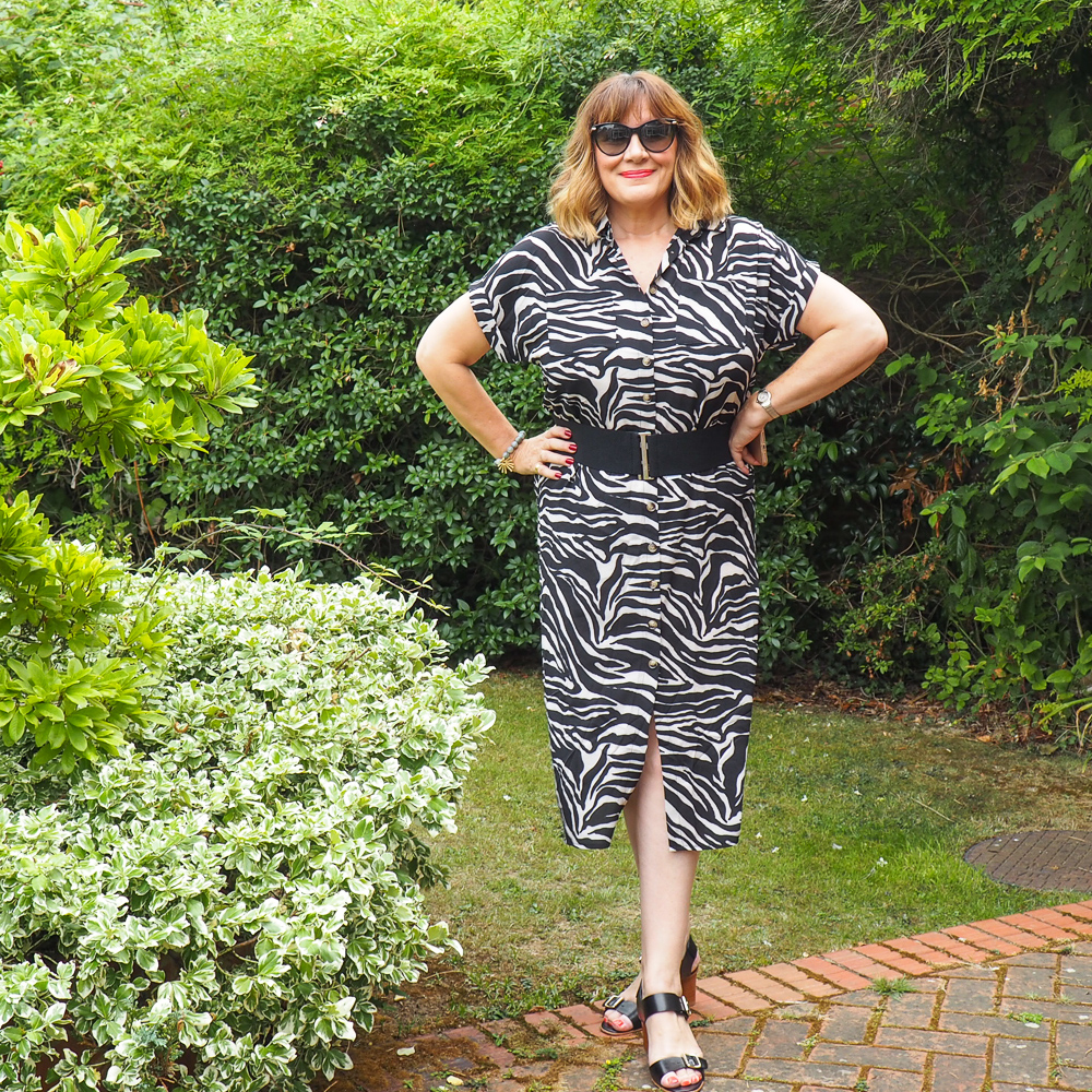 maria sadler, stylist, fashion blogger wearing zebra print shirt dress