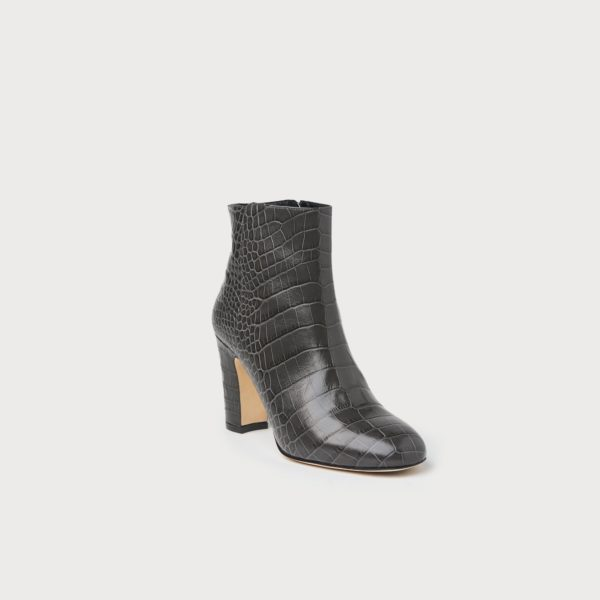 transitional ankle boots, grey croc L K Bennett mid heel ankle boot