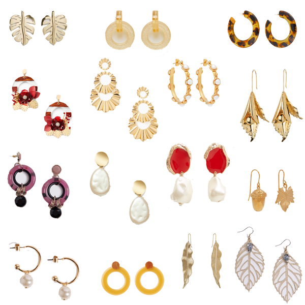 new season earring trends, 15 pairs, leaves, resin and pearls