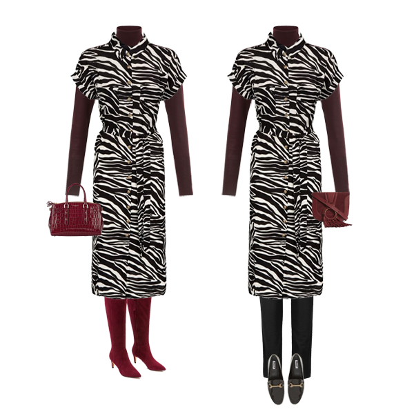 zebra shirt dress, knee high burgundy boots, spinal bag, alternate look over black trousers and black loafers