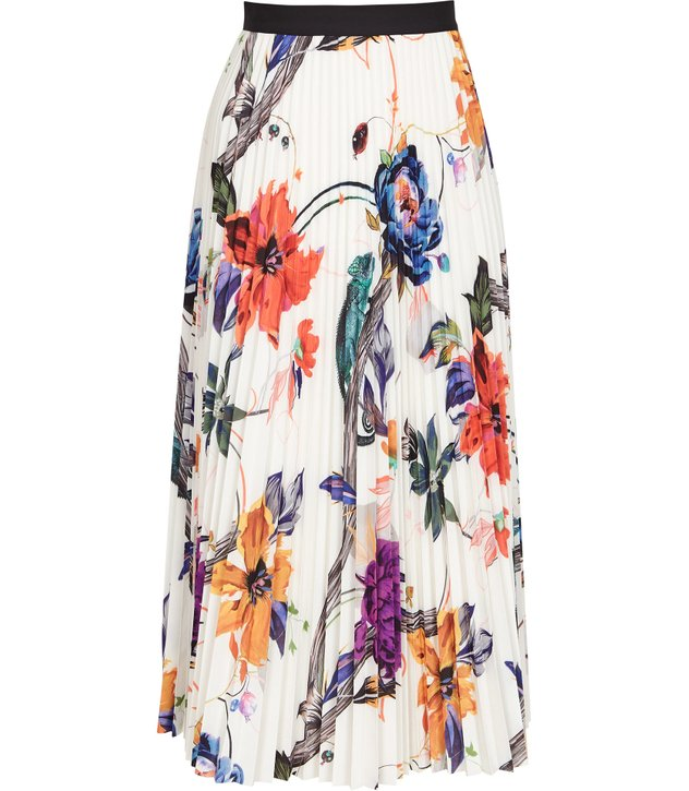 pleated skirts to suit your shape, Reiss white floral print pleated skirt