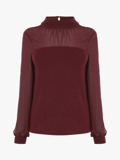 how to wear colour, deep red blouse