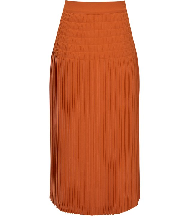 pleated skirts to suit your shape, Reiss rust knit pleat skirt