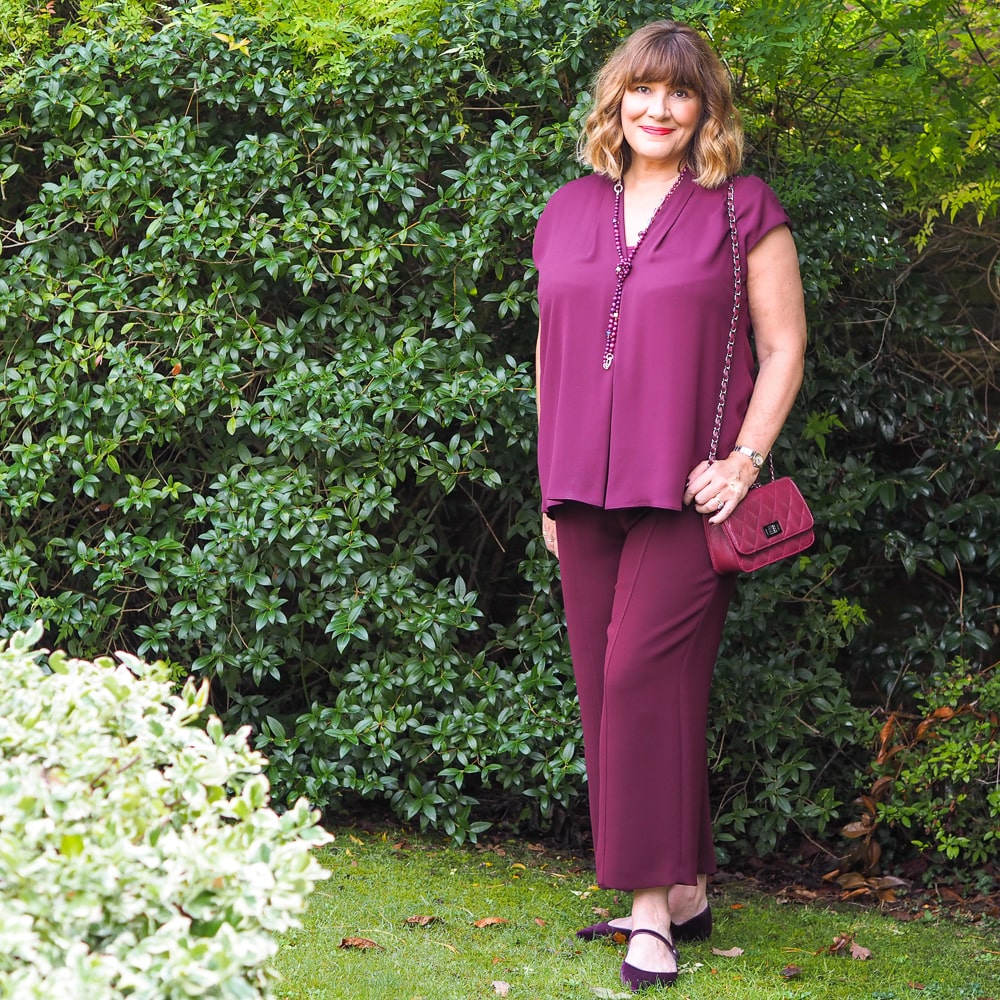 how to wear colour, Maria Sadler, Stylist and fashion blogger wearing burgundy trousers and top