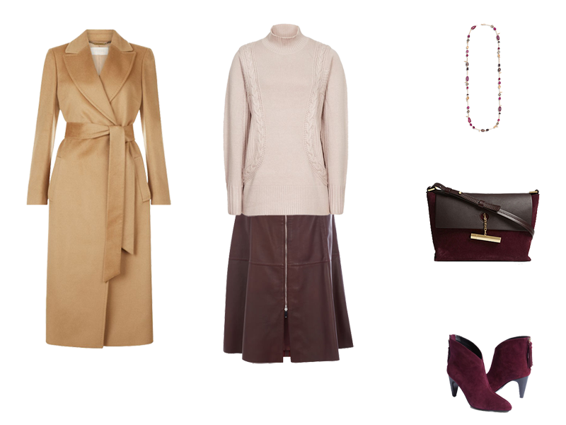 4 ways to wear wrap coats, camel coat, burgundy leather skirt, blush sweater, burgundy ankle boots and bag, silver chain necklace
