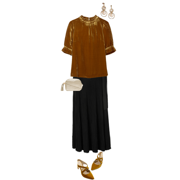 pleated skirts to suit your shape, black maxmara pleated skirt, mustard velvet top, mustard velvet shoes