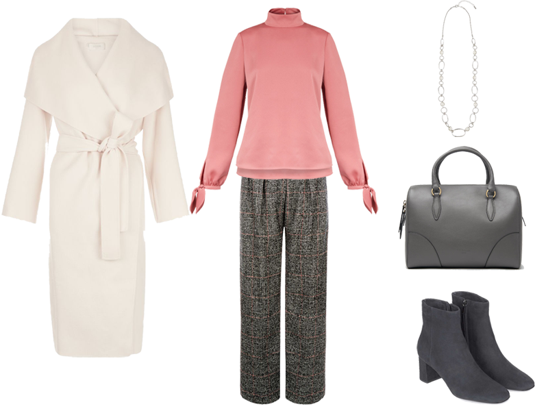 4 Ways to Wear Wrap Coats, pink silk blouse, grey tweed trousers, grey ankle boots and bag, pearl chain necklace