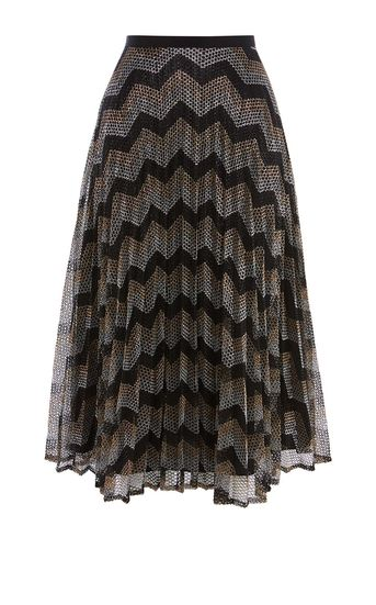 pleated skirts to suit your shape, karen mille, wave print pleat skirt