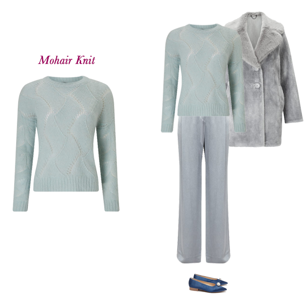 Autumn Trend Pieces, Jigsaw mohair sweater, silver satin trousers, Faux fur coat, Pearl detail flats