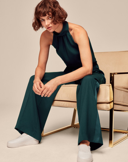 High/Low styling trick, ME+EM green evening trousers and halter top with trainers