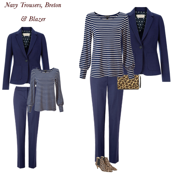 timeless outfit combinations, navy trousers, breton top, tweed blazer, animal print bag and boots