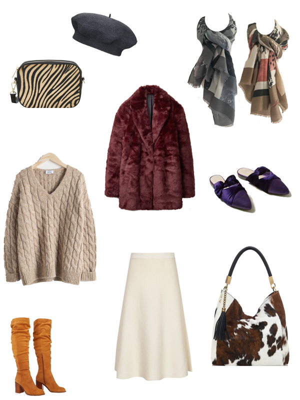 autumn capsule wardrobe updates, faux fur coat, animal print bag, winter white skirt, tan slouch boots