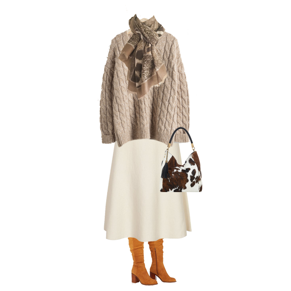 autumn capsule wardrobe updates, pony bag, tan slouch boots, winter white skirt, animal print scarf