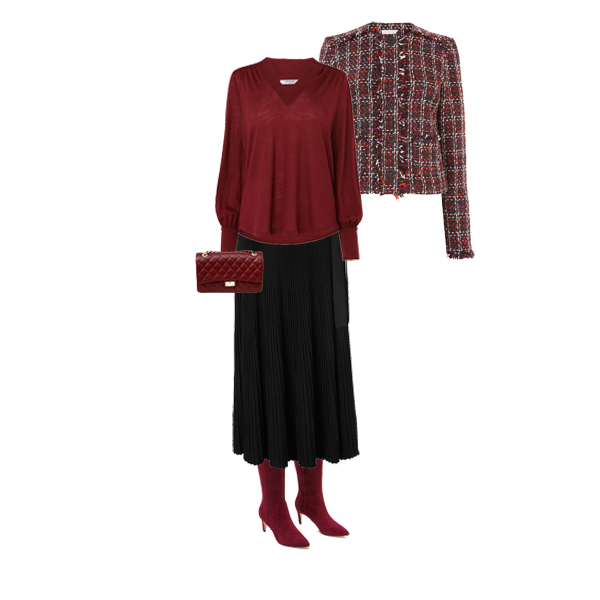 pleated skirts to suit your shape, tweed jacket, maxmara pleat skirt, red knee boots
