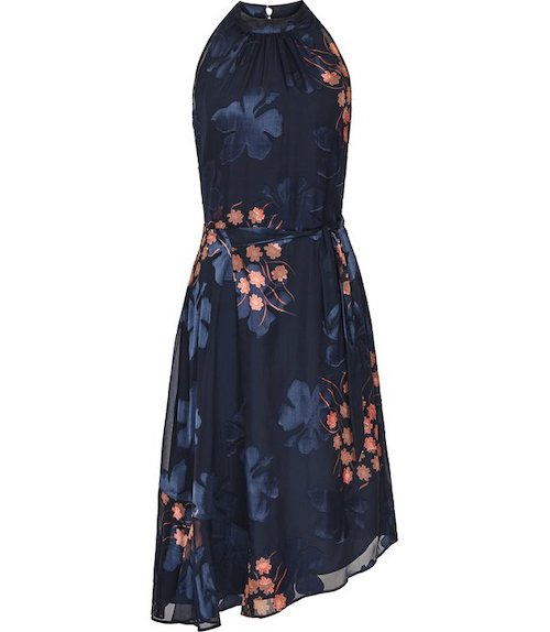 best party dresses and jumpsuits, Reiss navy  foil print dress