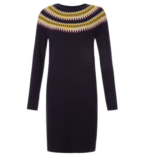 How to wear a jumper dress, Hobbs navy fairisle knitted dress