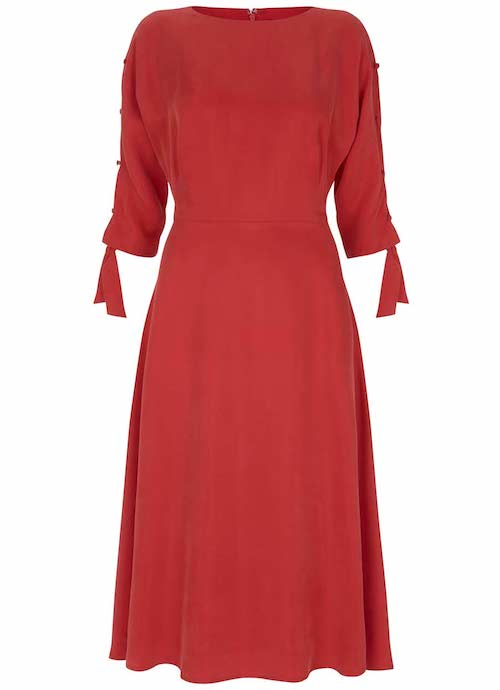 best party dresses and jumpsuits, Hobbs red dress with sleeve tie