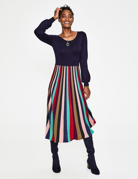 How to wear a jumper dress, Boden knitted dress with multi coloured striped skirt
