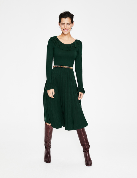 How to wear a jumper dress, Boden Green knit dress with frill neck