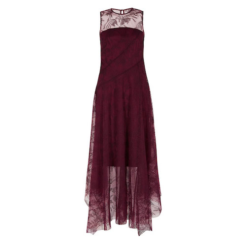 best party dresses and jumpsuits, coast burgundy midi dress chiffon skirt