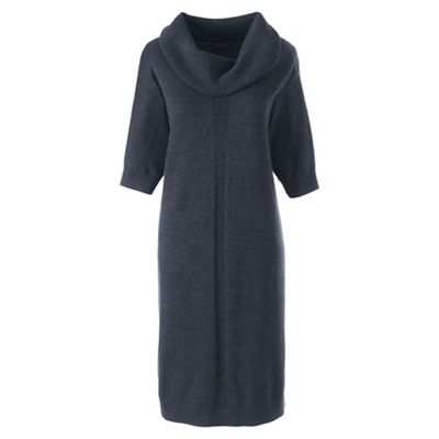 How to wear a jumper dress, Lands End cowl neck blue knitted dress