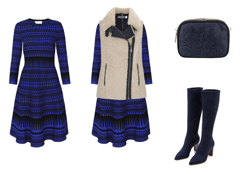 How to wear a jumper dress, black blue A line jumper dress, blue boots, fur gilet, cross body bag