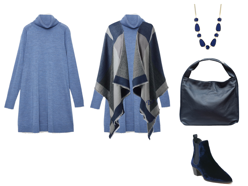 How to wear a jumper dress, pale blue roll neck knit dress, blue grey wrap, navy bag, LK Bennett velvet boots