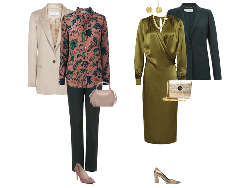 great cost per wear from a suit, green Hobbs trouser suit, for dressy occasions