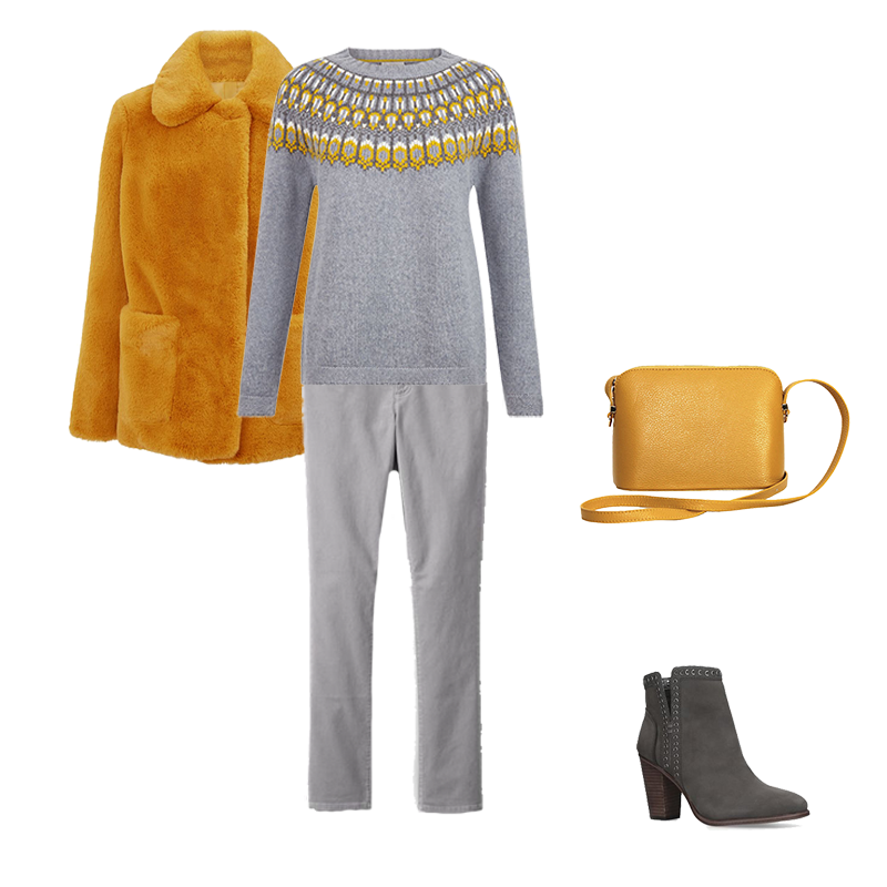 How to wear Christmas Jumper, grey and yellow Fair Isle sweater , yellow faux fur coat and bag