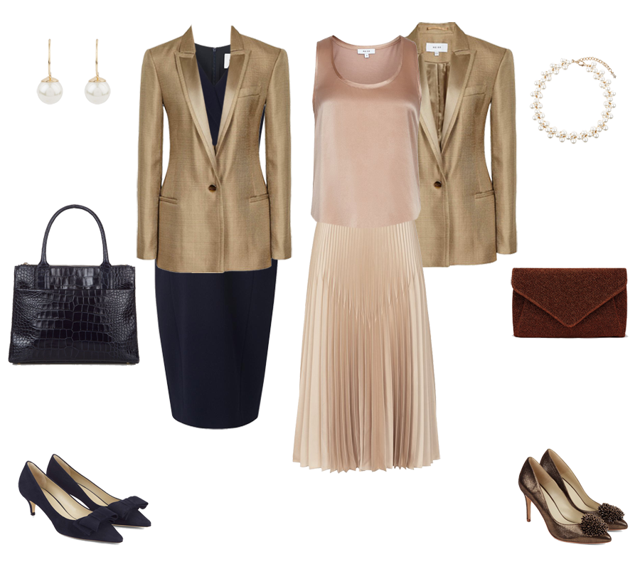 How to go from desk to party, Reiss gold jacket, skirt and camisole, Hobbs bronze flower shoes
