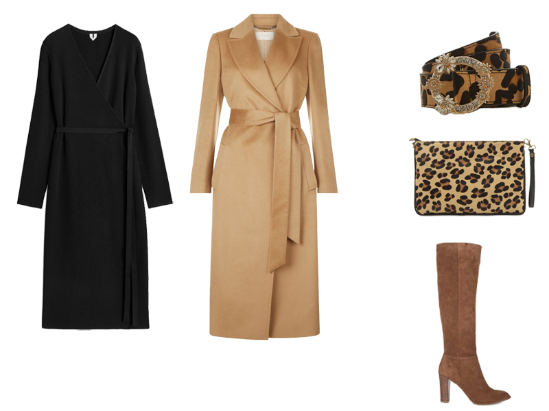 How to wear a jumper dress, black wrap knit dress, Hobbs camel coat, animal print belt and bag, tan boots