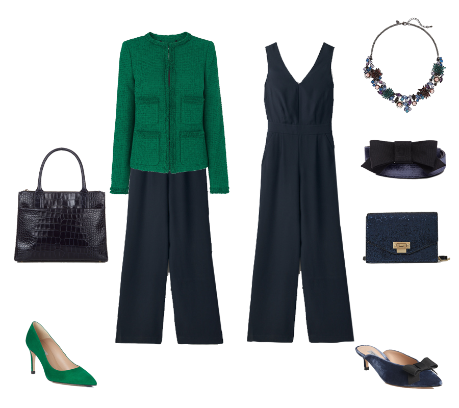 How to go from desk to party , Boden navy jumpsuit, LK Bennett green tweed jacket, velvet shoes, blue sparkle bag