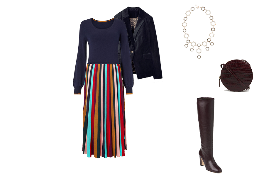 Christmas wardrobe Essentials, Velvet jacket, knit dress, knee boots, statement necklace