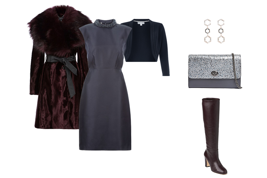 Christmas wardrobe Essentials, faux fur coat, knee boots, shrug, metallic clutch bag
