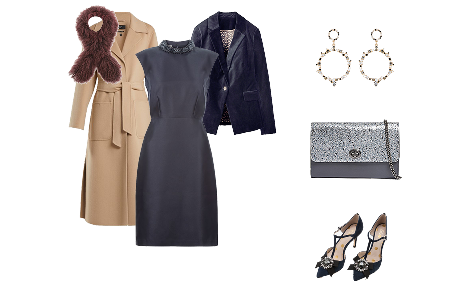 Christmas wardrobe Essentials, Velvet jacket, navy satin dress, camel coat, embellished shoes,