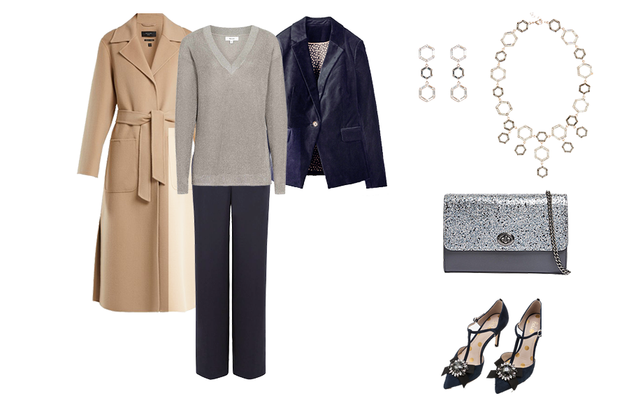 Christmas wardrobe Essentials, Velvet jacket, sparkly knit, tailored trousers, metallic bag,
