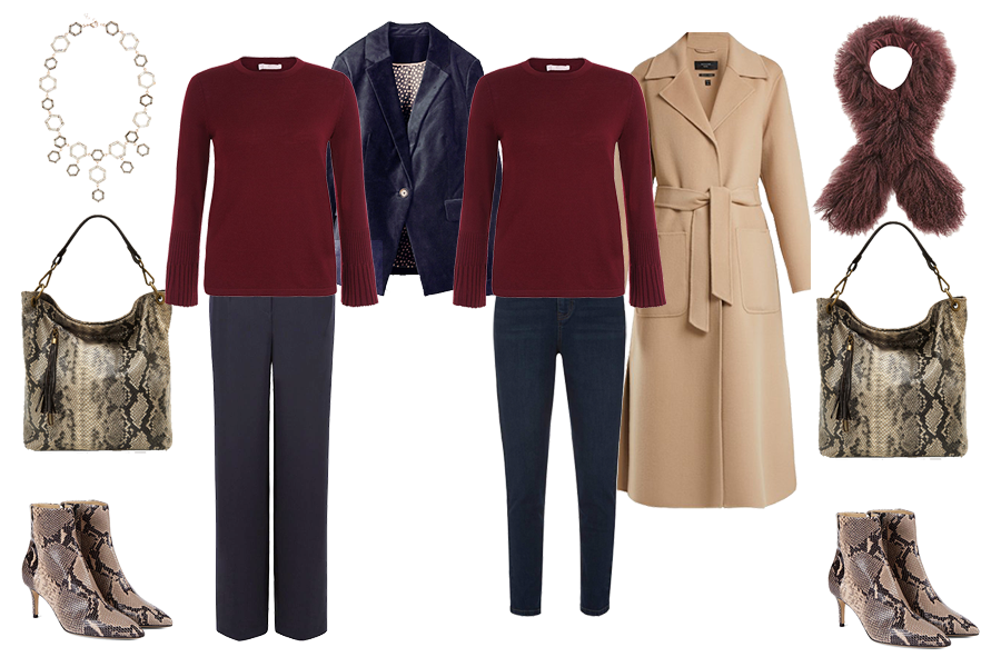 Christmas wardrobe Essentials, Velvet jacket, wide leg trousers, red knit, jeans, camel coat, snakeskin bag,