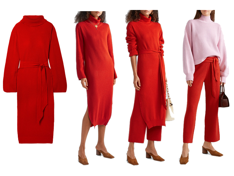 How to wear a jumper dress, red knit dress worn alone, with trousers, red knit trousers pink sweater